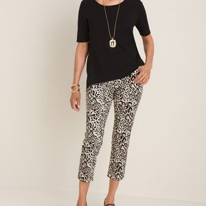 Chicos Cheeta Print Slim Leg Crop Pant
